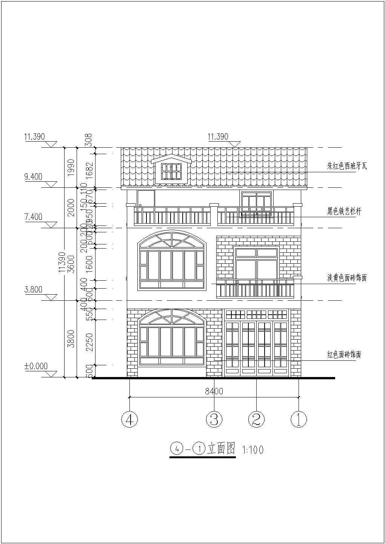 三层长08.40米 宽11.00米农村自建房建筑施工图