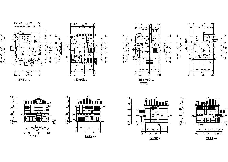 三层长12.00米 宽12.70米农村自建房建筑设计图