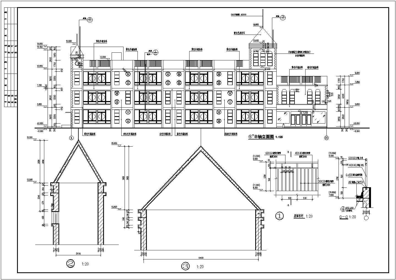 某三层框架结构12班幼儿园建筑施工图