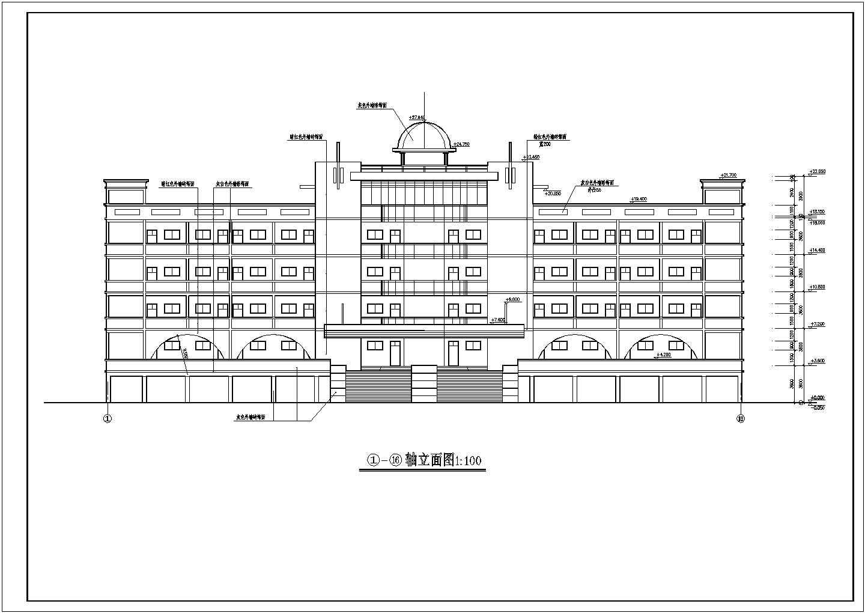某地六层坡顶教学楼建筑设计施工图