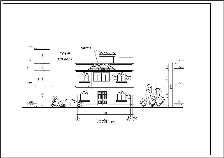两层长10.40米 宽10.30米农村自建房建筑结构图
