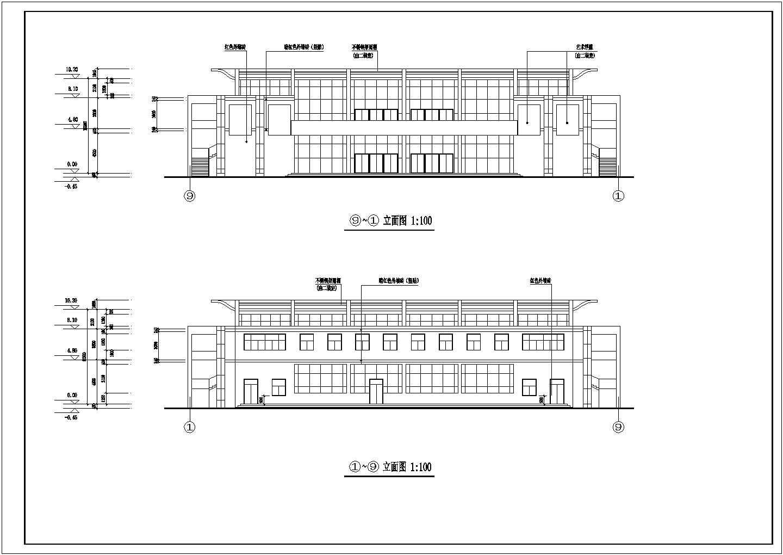 二层框架结构新校舍学校食堂、多功能厅建筑施工图