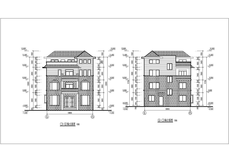 多层长10.80米 宽17.04米农村自建房别墅建筑施工图