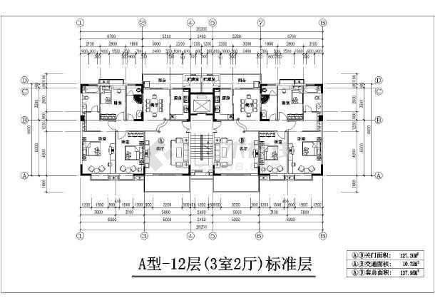 一梯二户住宅楼复式户型三居室平面布置cad方案