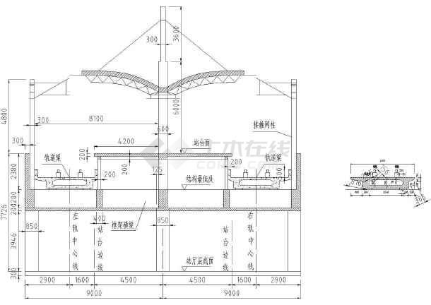 标准火车站地铁高架桥站台cad设计施工大样图图片1