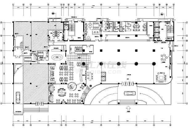 最新的酒店大堂设计cad平面图(标注齐全)