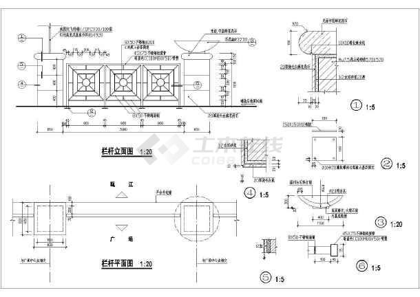 最新整理5种景观石栏杆cadv景观设计图cad++画圆心矩形图片