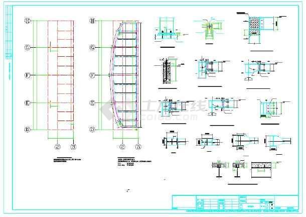 钢结构舞台结构设计cad施工图(含钢柱平面布置图等)