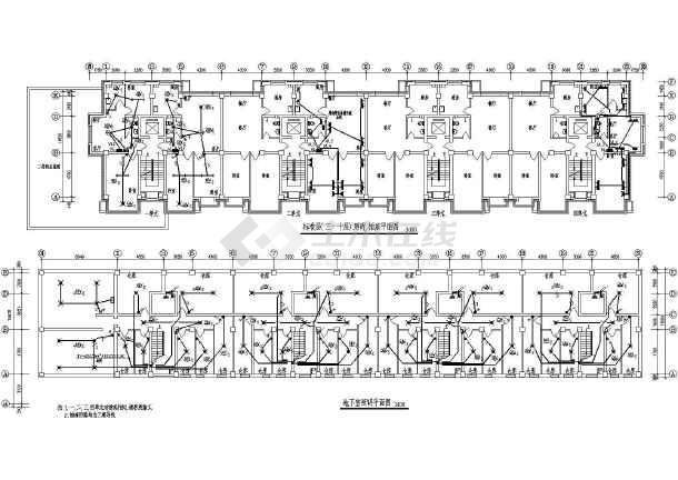 一梯两户单元式高层住宅楼电气施工图