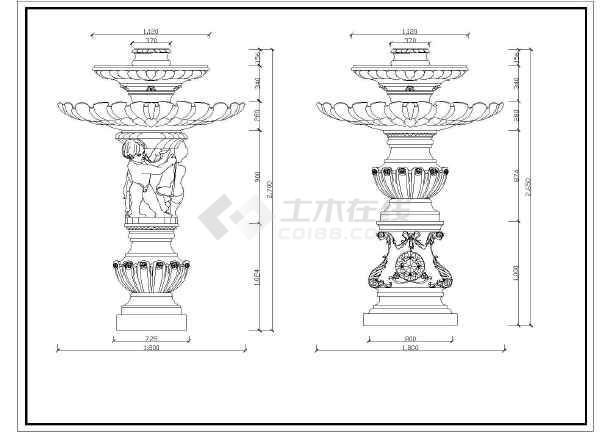 各种欧式喷泉喷水池花坛花盆cad设计平立面图块图片3