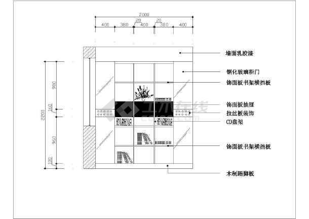 20种现代家装书柜风格时尚cad施工立面设计大豆豆拼堆图纸糖拼图片