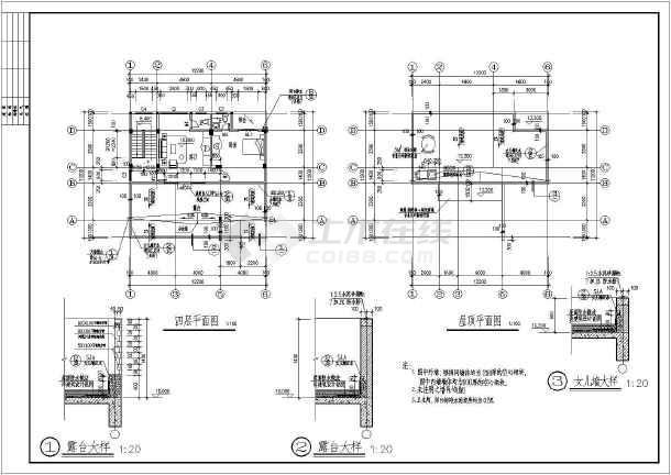 平屋面建筑构造 一_平屋顶4层独栋别墅建筑和结构cad施工图(含效果图)_cad图纸下载 ...