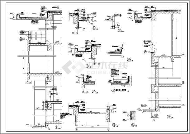 家装施工设计墙身剖面及节点详图cad方案图(带蹲便器大样)