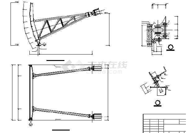 斧头水库工程钢弧形v斧头cad图(可直接打印)_c闸门图纸带尺寸图片