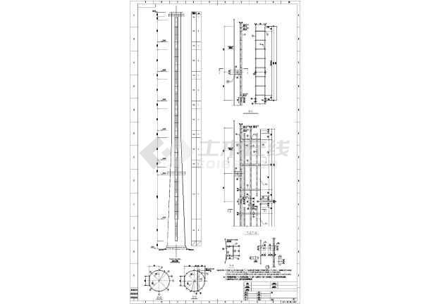 某80m钢结构烟囱建筑图纸图片