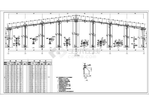 48米跨度钢结构单层厂房结构cad施工图