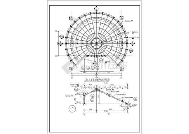 钢结构采光顶棚结构设计cad图纸图片2