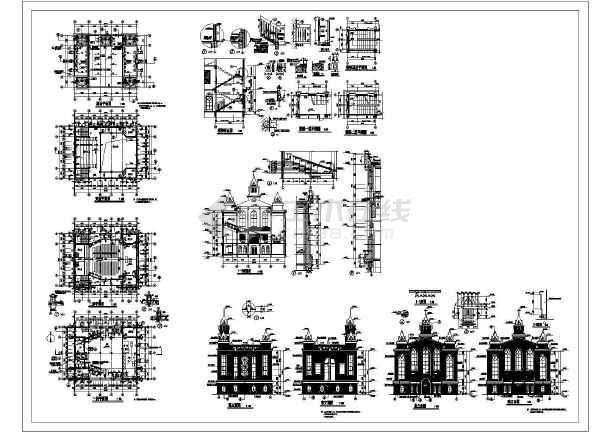 某欧式教堂建筑设计图纸(cad)图片1