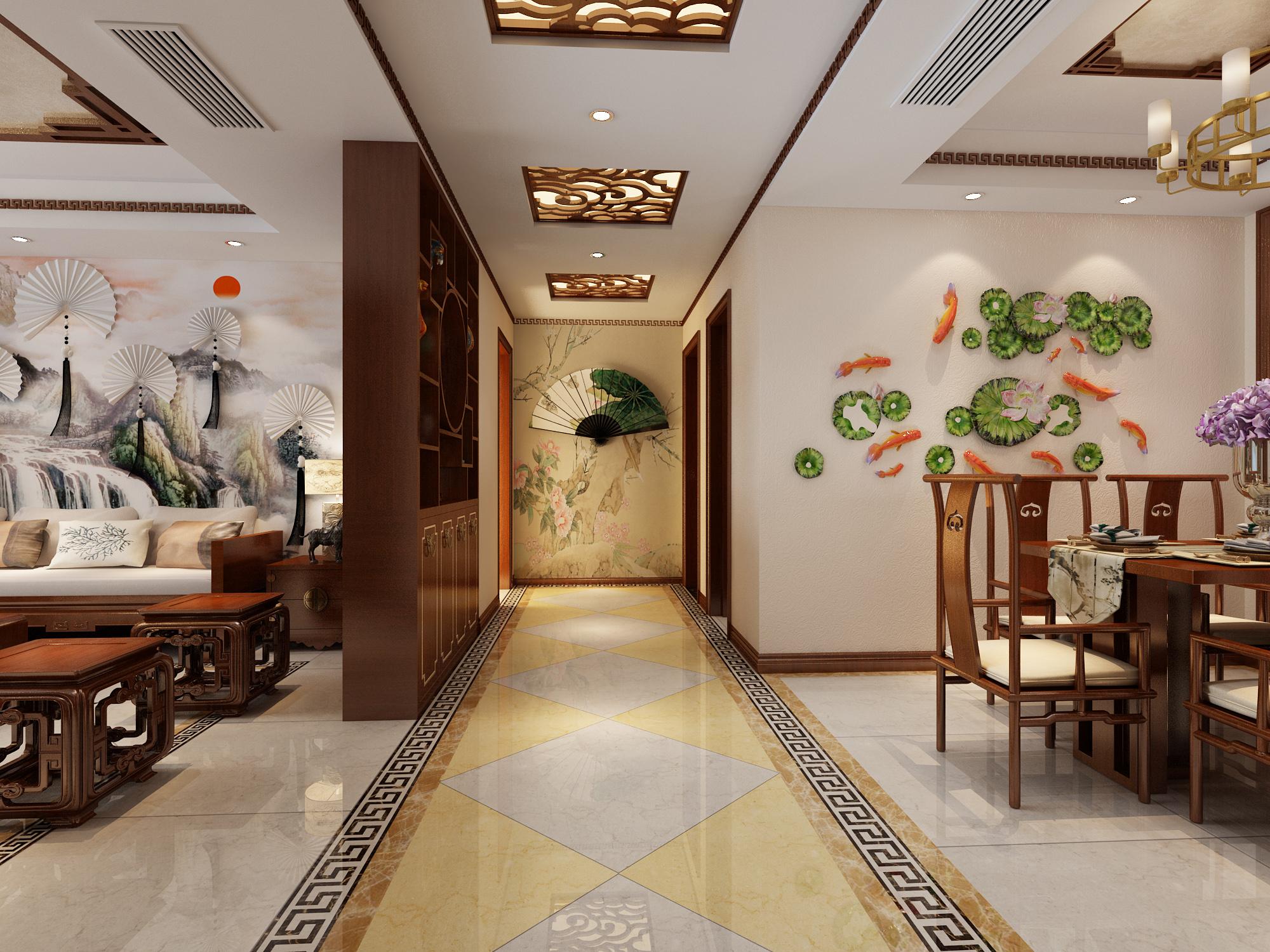 中式客餐厅3d模型下载-图2图片