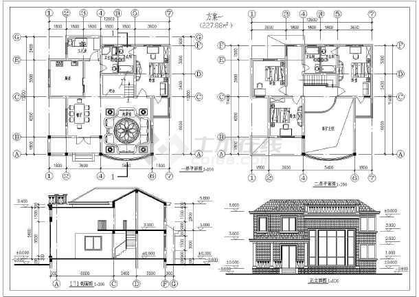 欧式西方元素坡顶二层别墅建筑设计cad平立面施工方案
