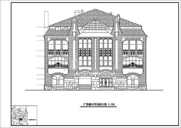 多种欧式古典风格沿街建筑设计施工cad立面方案图(石材幕墙)图片3