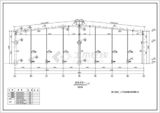 某門式剛架結構帶吊車單層廠房cad建築設計圖紙(含設計說明)