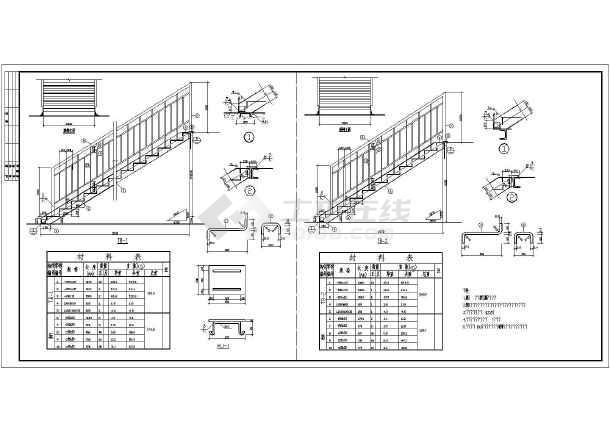 钢结构楼梯走廊施工cad平立面设计方案图(热轧轻型槽钢对焊箱形柱梁)