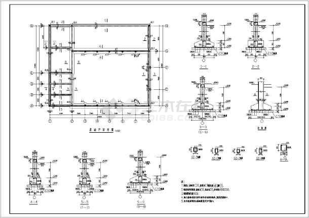 西安两层锅炉房带排污降温池建筑混合结构施工cad设计