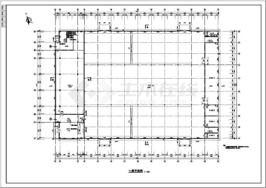 某厂房和办公室建筑设计cad图纸(含节v厂房说dota2神话图纸图片