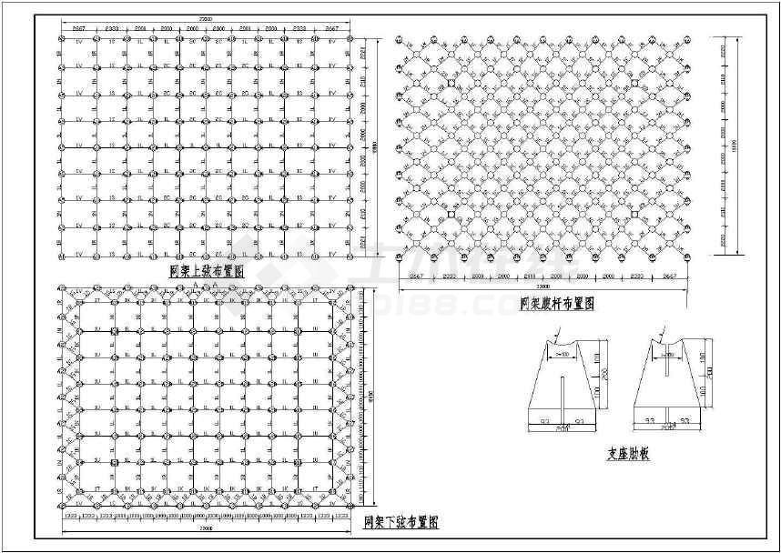 某加油站400平方结构图纸平面CAD图纸全套网架英文图片