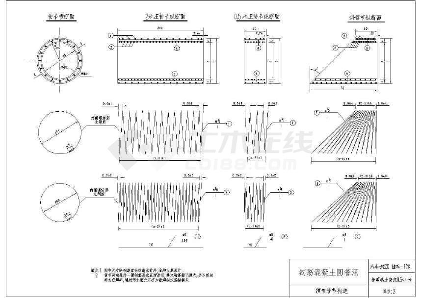 钢筋混凝土圆管涵标准通用图cad图纸