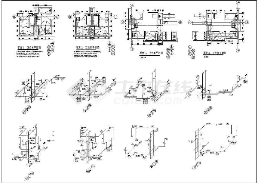 星级酒店图纸及卫生间给排水设计施工cad弹弓鱼客房镖平面图片