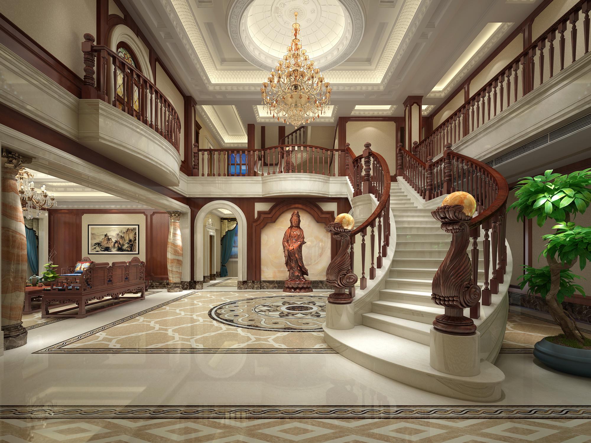 欧式别墅大厅3d模型下载-图1