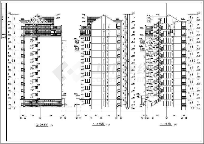 某十高层小二层建筑设计cad文字2007cad图纸块大小编辑无法图片