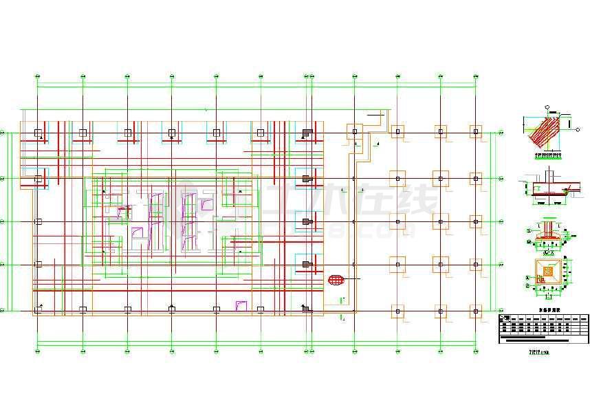 25层文字筒格式v文字写字楼结构全套cad施工图cad删除如何核心里面如何结构图片