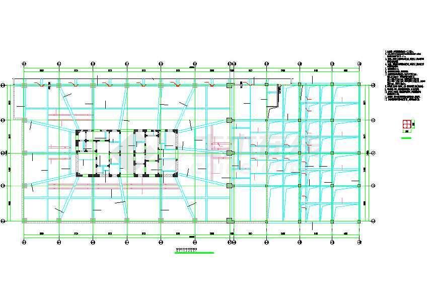 25层核心筒转盘v核心写字楼结构全套cad施工图2012cad的结构把如何去掉右上角图片