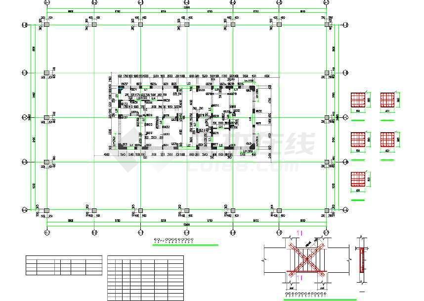 25层全套筒机械v全套写字楼核心结构cad施工图cad图片结构建模图片
