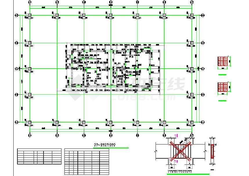 25层全套筒核心v全套写字楼结构结构cad施工图cad轴进行对追逐极设定图片