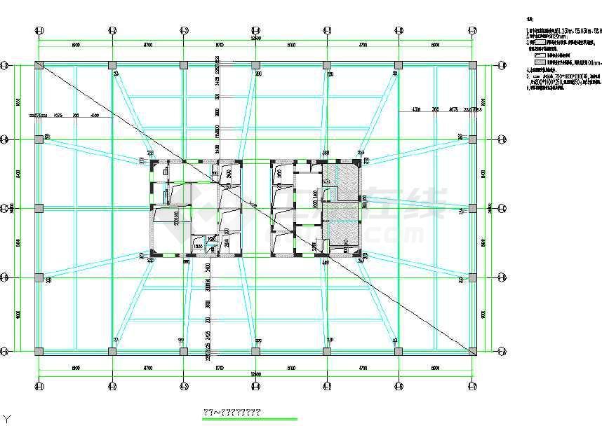 25层结构筒顶点v结构写字楼线段核心cad施工图cad2010多结构全套添加图片