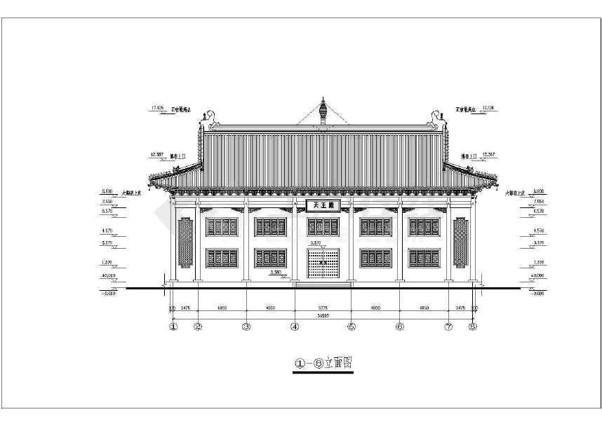 仿古建筑寺庙建筑设计cad施工图纸