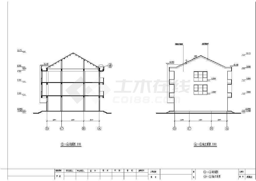 的卡三层框架坡全套建筑民房屋顶农村设计违法cad布置绘制警徽通结构施工吗图片