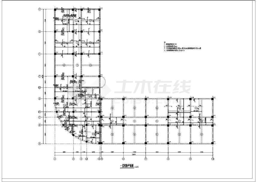 八层l型商务办公楼玻璃幕墙框架结构施工设计cad平面布置图纸,图纸图片