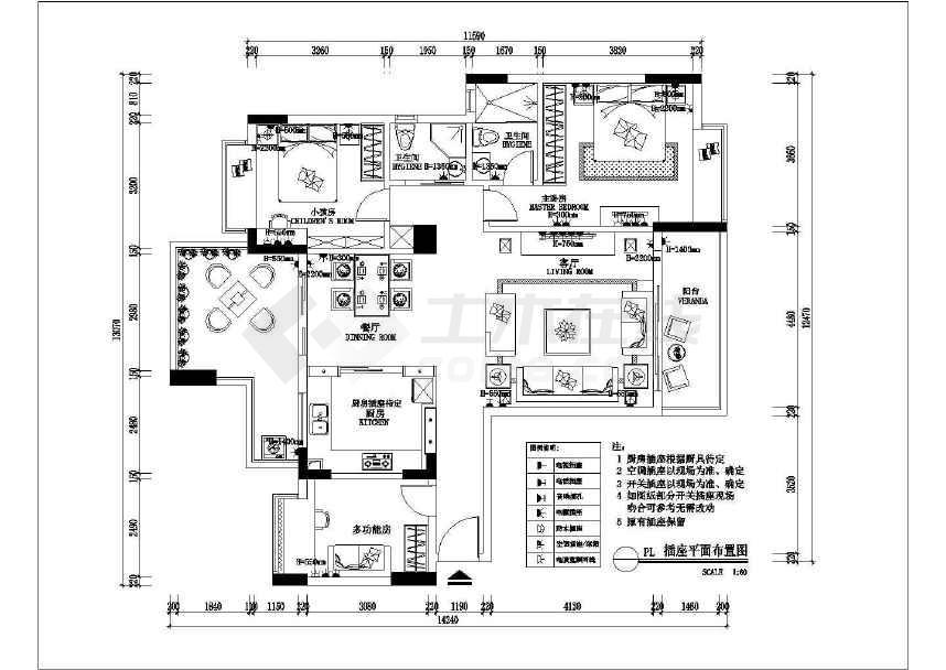 130平方米三室两厅大三房现代简约温馨装修施工cad设计布置图纸(厨房