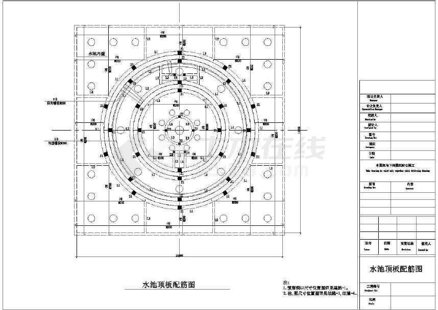 圆形浴缸立面cad_大型圆形旱喷泉喷水池施工做法cad设计平立面布置图纸下载-土木 ...