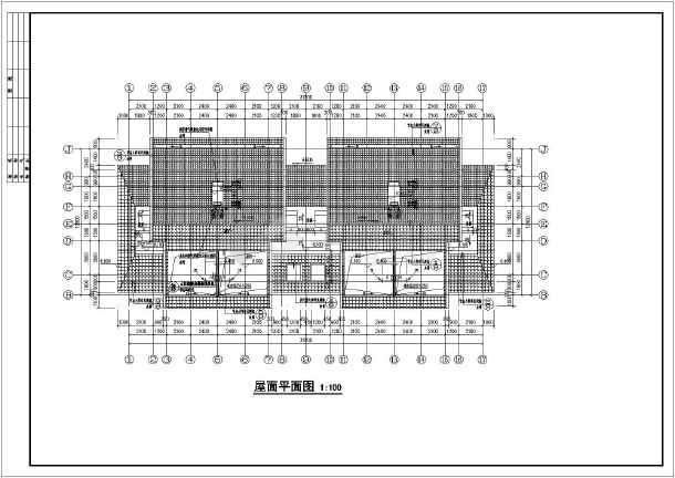 带阁楼及庭院二层联排别墅框架结构建筑设计cad施工图
