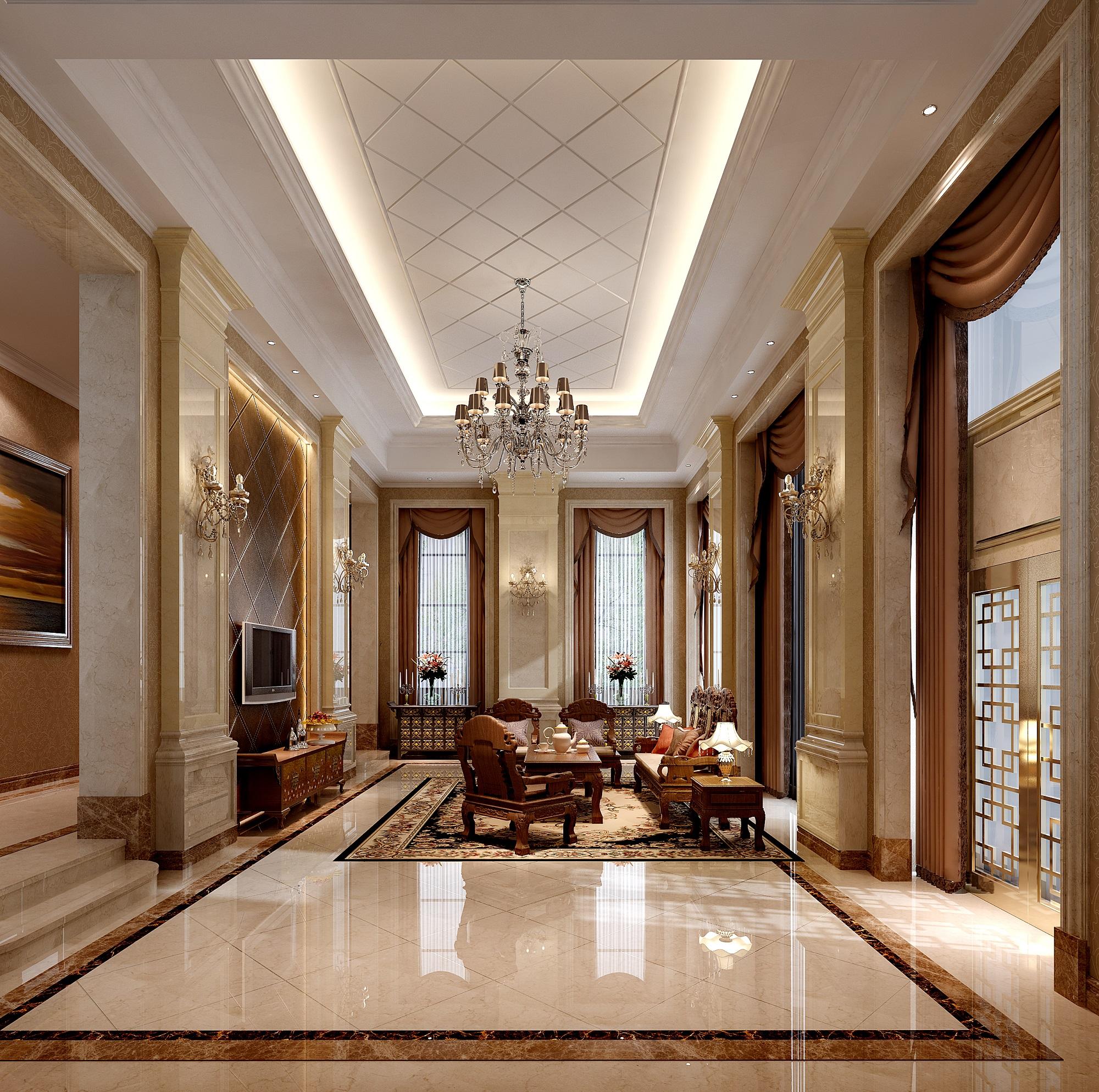 欧式风格客厅整体3d模型下载