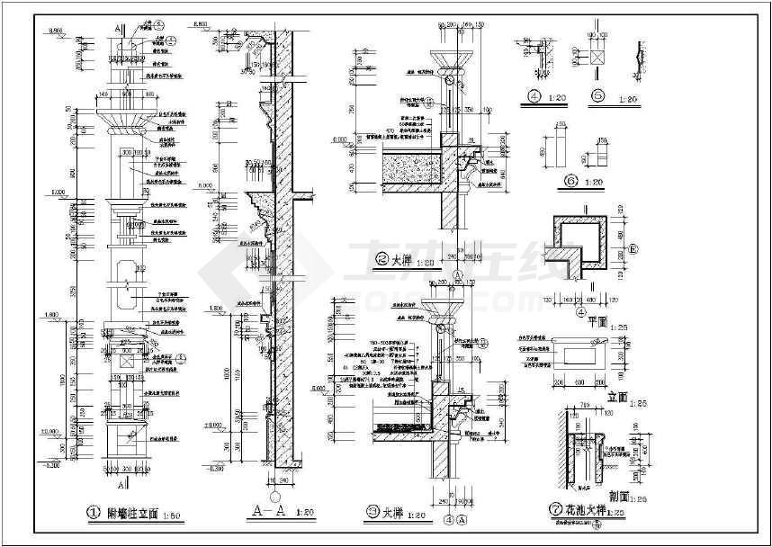 3层现代风格豪华独栋别墅建筑设计cad施工图