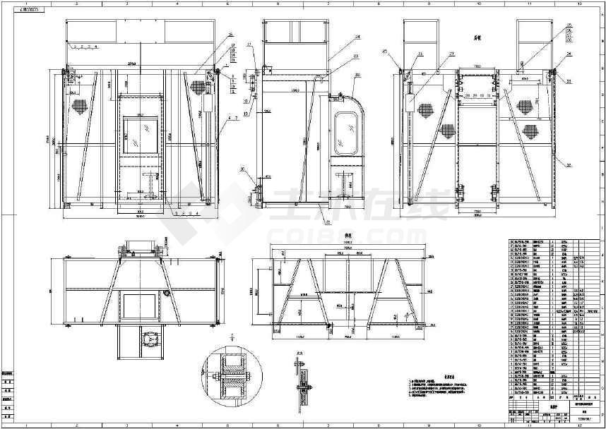 施工对称吊笼升降机结构施工设计cad平面布置图纸