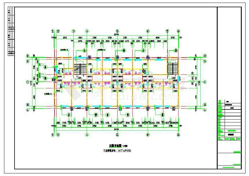 浙江省某地某3层办公综合楼建筑设计施工图-图2