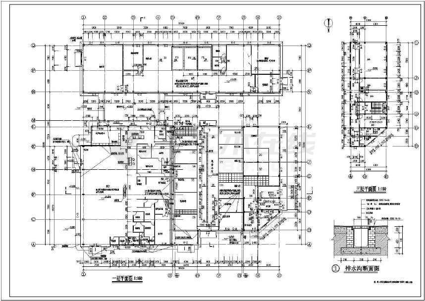 比较实用的三层4s店建筑施工图纸(标注详细)